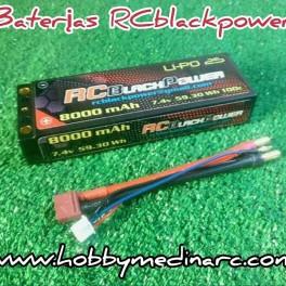 Baterias lipo RCBlackPower 8.000mah 7,4V 100/C banana 5mm.